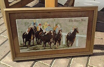Vintage Framed Horse Racing Tiles Plaque  The Home Turn 1980s rare