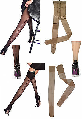Seamed Seamer Stockings or Tights with Cuban Heel Black or Nude