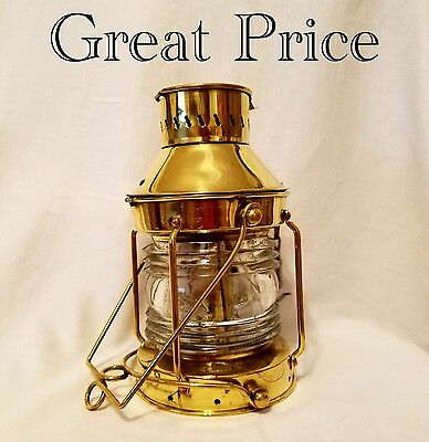 Solid Brass Nautical Anchor Oil Lantern