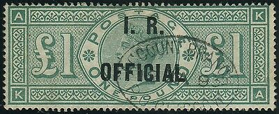 Sg O16 £1 Green OVPT I.R. OFFICIAL.  A very fine used example with steel cds