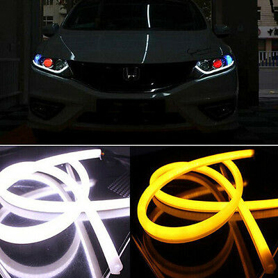 2X Switchback Car DRL LED Light Strip Tube Sequential Turn Signal White/Amber