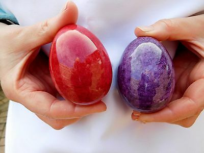 "Large 3"" Polished Marble Collectors Egg + Free Stand Red Or Mauve Av Weight 245g"