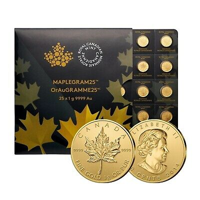 Maple Leaf Gold 1 g Maplegram 25 x 1 g Kanada diverse Jahrgänge Goldmünze