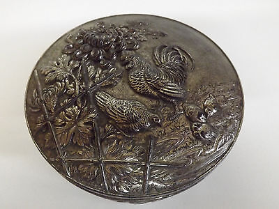 Silver Washed Pewter Box Decorated In Relief With Chrysanthemums & Chickens