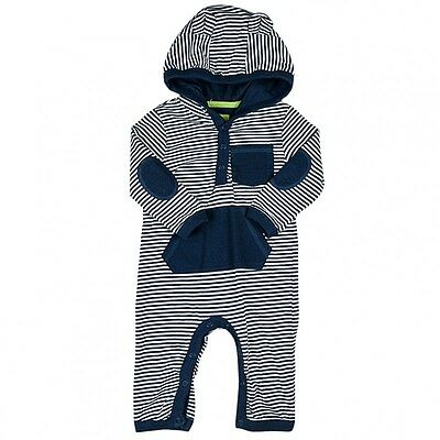 Baby Boys Ex High Street Striped Hooded Romper All-In-One Nb-24 Months
