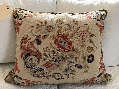 "22"" Vintage needlepoint floral/flower Aubusson Pillow"