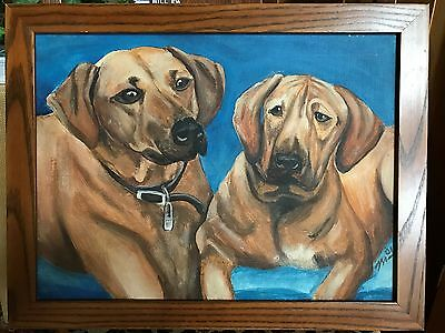 Painting Rhodesian Ridgeback Original Oil On Canvas Signed 2001