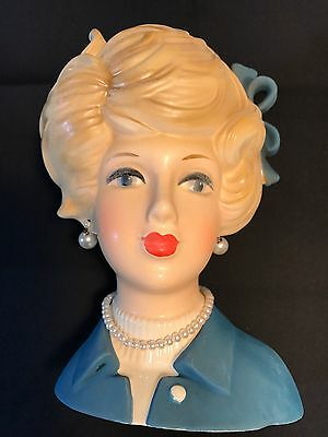Old Vtg Napcoware Ceramic Lady Head Vase Planter #8497C Pearl Necklace Earrings
