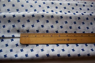 Vtg Early Lucky Clover Cotton fabric For Antique Doll Dress  Royal Blue & White