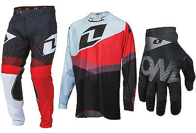 One Industries Vapor Motocross Kit Combo Pants Jersey Gloves Shifter Red Black