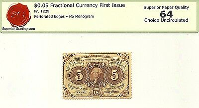 1862 5 Cent Fractional Postage Currency - Perforated No Mono Fr. 1229 Choice New