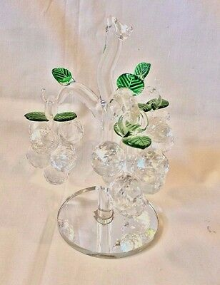 Crystal 3 Grape /Berry Bunches Hanging on Tree Great Gift New Not Original Box