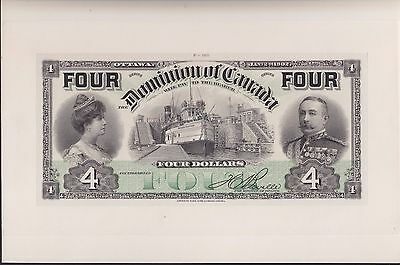 1902 Dominion of Canada $4 Full Colour Proof - DC-17bFP 'FOUR's' Signed Boville