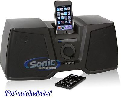 """Kicker iK350 Portable iPod/iPhone Docking System Clock with 4.5"""" Sub & Speakers"""