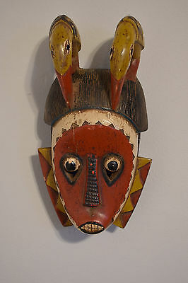 African Mask Red Baule Bird Tribe Mali Respect Family Wisdom Mask
