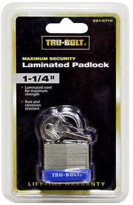 "TRU-BOLT 1-1/4"" Laminated Warded 2 Key Padlock Hardened Steel Shackle Pad Lock"