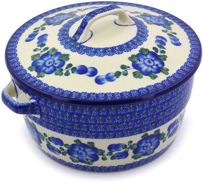 "Polmedia Polish Pottery 9"" Stoneware Baker with Cover with Handles H4282B"