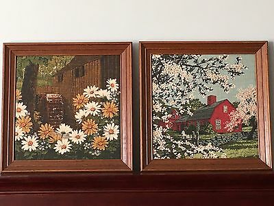 2 Of Kay Dee, 100% Hand Prints, Hope Valley, Rhod Island, Pure Linen, (Framed)