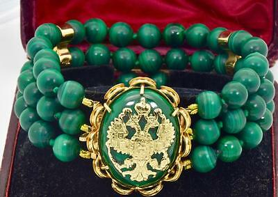 ONE OF A KIND antique Imperial Russian 18k gold&Malachite bracelet.88g heavy.Box