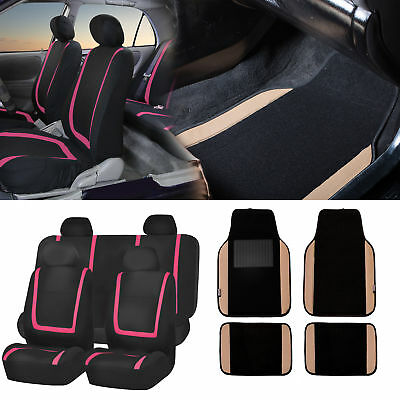 Black & Pink Car Seat Covers with Beige Carpet Floor Mats for Auto Car SUV