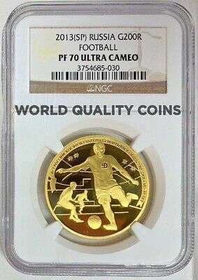 Russia 2013 Gold 200 Roubles 1oz Winter Sport Dynamo Football NGC PF70 Mint-500