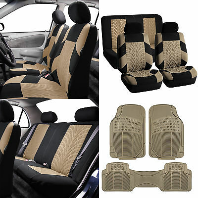 Travel Master Car Seat Covers with Floor Mats for Auto Beige