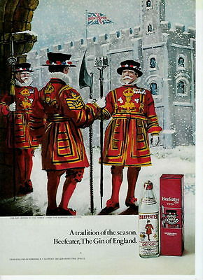 1971 Great Color Art Ad For Beefeater Gin Of England