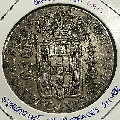 Rare Brazil 1816-R Silver 960 Reis Overstruck On 8 Reales Crown