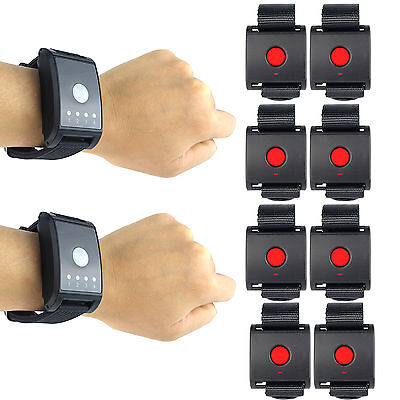 2X Restaurant Waiter/Guest Calling Pager System 2Watch Receiver+8Call Button New