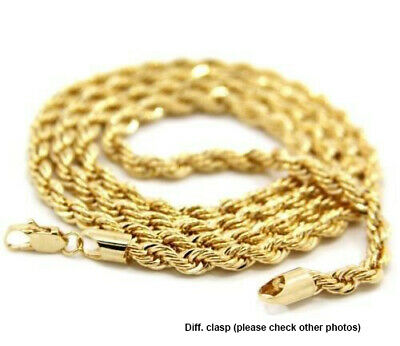 """Mens 14K Yellow Gold Plated 5mm Rope Chain Necklace 24"""""""