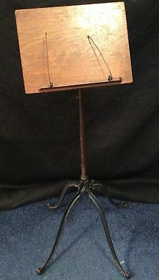 Antique iron and oak music stand, circa late 19th c