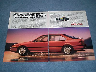 """1988 Acura Integra 5-Door Vintage 2pg Ad """"The Thought of Having a Family Car...."""