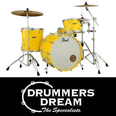 """Pearl Decade Maple Series 3 Piece 24"""" Drum Kit Shell Pack in Solid Yellow Finish"""