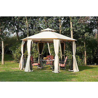 Outsunny 13.1ft Hexagon Patio Gazebo Canopy Party Tent with Curtains Beige
