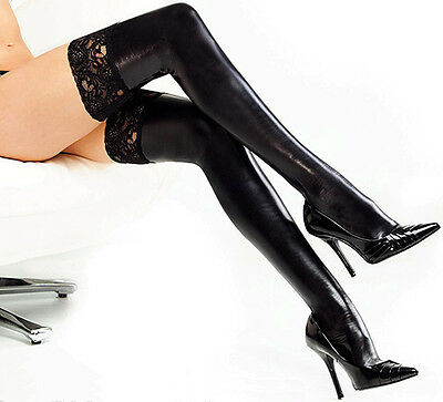 Women Dancing Wet Look Faux PU Leather Thigh High Stockings Lace Anti-Slip Socks