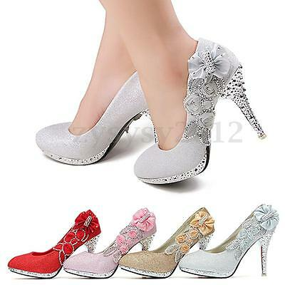 UK Glitter Gorgeous Wedding Bridal Evening Party Crystal High Heels Women Shoes