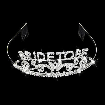 Bride Bachelorette Wedding Party Crystal BRIDE TO BE Tiara Bridal Shower 1pc