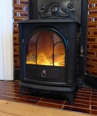 Electric Stove Heater Cast Iron Wood Burner Effect Fire Fireplace Vintage Style