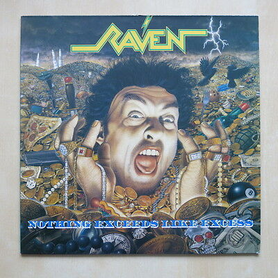 RAVEN Nothing Exceeds Like Excess UK vinyl LP with inner Under One Flag FLAG 28