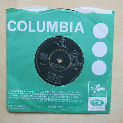 """THE PINK FLOYD See Emily Play UK 1st press 7"""" Columbia DB 8214 1967"""