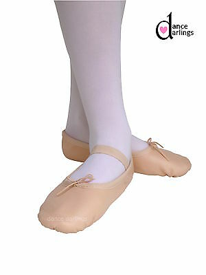 Genuine Soft Leather Kids Girl's Pink Ballet Shoes Full Sole Sewn On Elastic