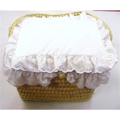 Traditional Romany Style Layette Basket White Broderie Anglaise Trim by Kinder