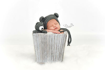 Crochet Baby Newborn Bonnet Bear Hat and Teddy Bear Grey Toy Set, Photo Prop