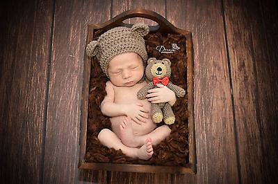 Crochet Baby Newborn Bonnet Bear Hat and Teddy Brown Grey Toy Set, Photo Prop