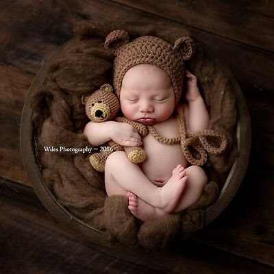 Crochet Baby Newborn Bonnet Bear Hat and Teddy Bear Toy Set, Photo Prop