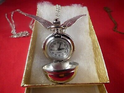 Silver Harry Potter Snitch Watch Necklace Quidditch Pocket Clock Pendant USA