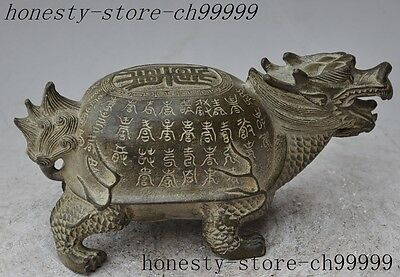 "8""chinese fengshui bronze wealth Longevity Dragon turtle Tortoise lucky statue"