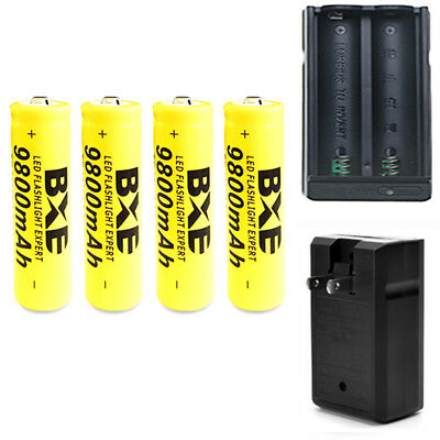 4x 3.7V 18650 9800mAh Li-ion Batteries Flashlight Rechargeable Battery 1 charger