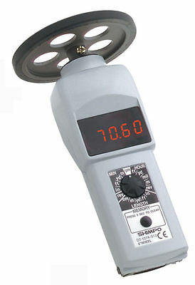 SHIMPO DT-107A-S12 Contact Style Digital Handheld Tachometer, LED, 12in wheel