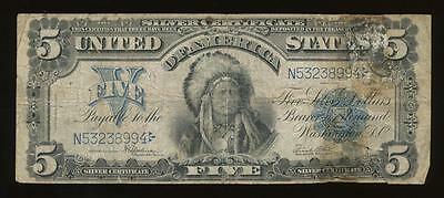 AC Fr 281 1899 $5 Silver Certificate CHIEF NOTE!